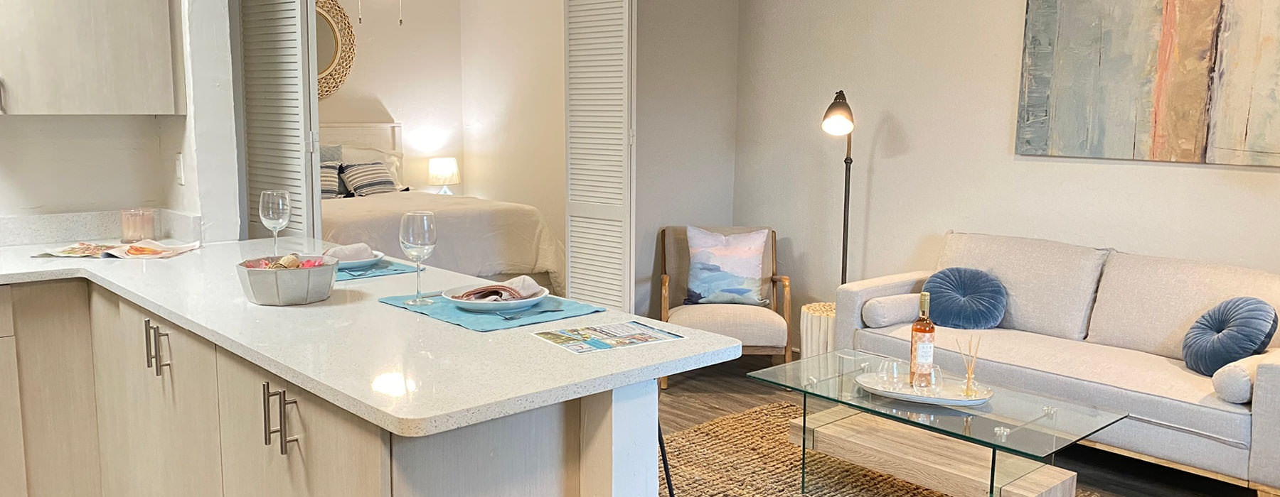 open apartment interior with ample lighting throughout